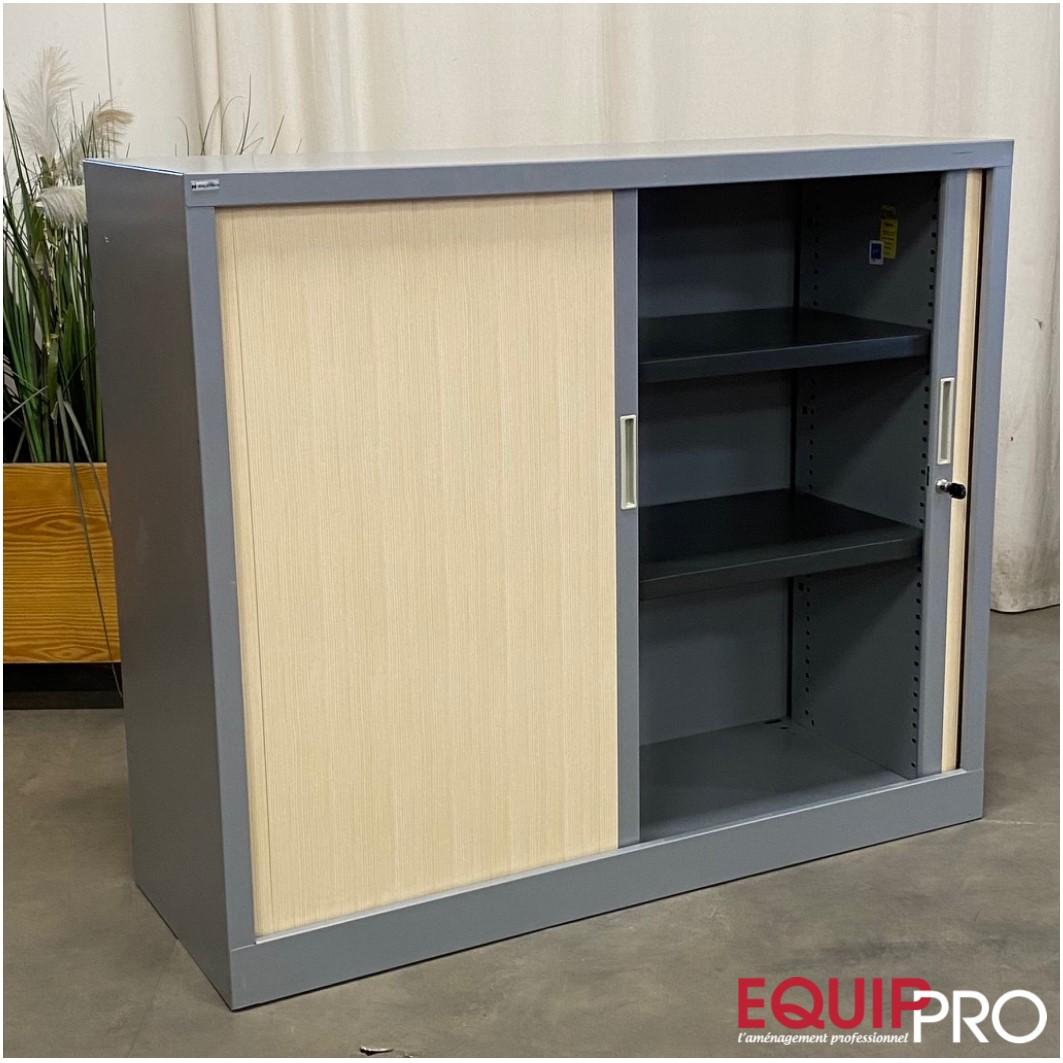 demi armoire de bureau alu et hêtre