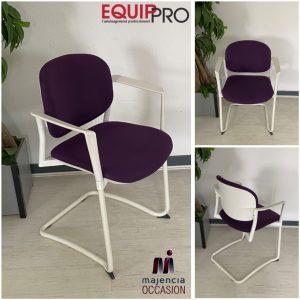 fauteuil visiteur occasion violet et blanc